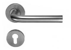 Комплект дверных ручек Hafele форма L с розетками под профильный цилиндр для внутренних дверей, штифт 8 мм, нержавеющая сталь