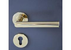 Комплект дверных ручек Hafele Startec форма L с розетками под профильный цилиндр для входных дверей, штифт 8 мм,  нержавеющая сталь с покрытием полированная латунь