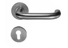 Комплект дверных ручек Hafele Startec форма U с розетками под профильный цилиндр для входных дверей, штифт 8 мм,  нержавеющая сталь