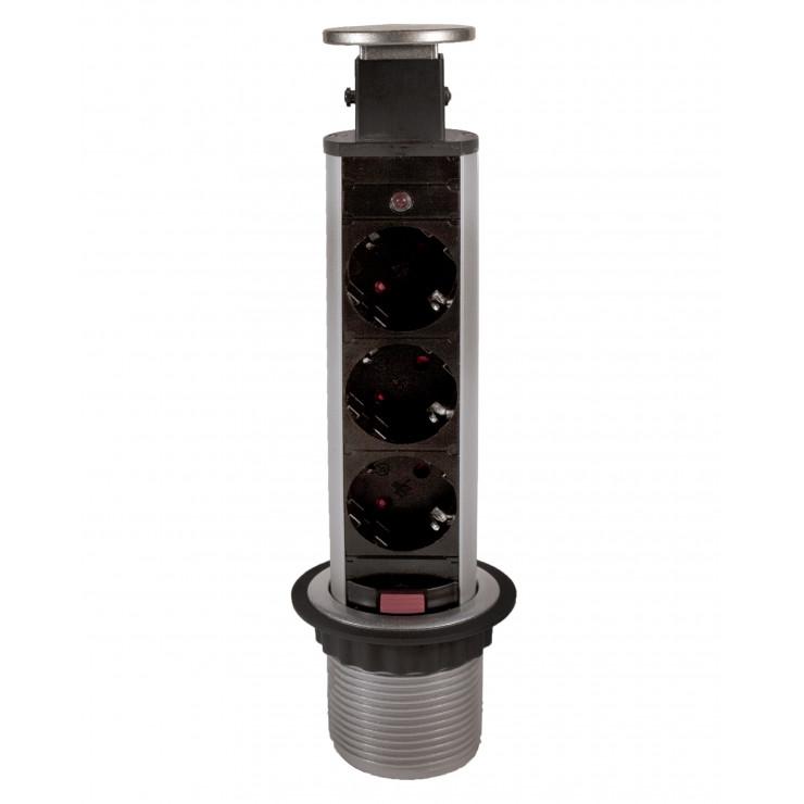 Блок розеток выдвижной вертикальный серебристый POP UP Compact 3 розетки EURO, 250В / 3.5кВт