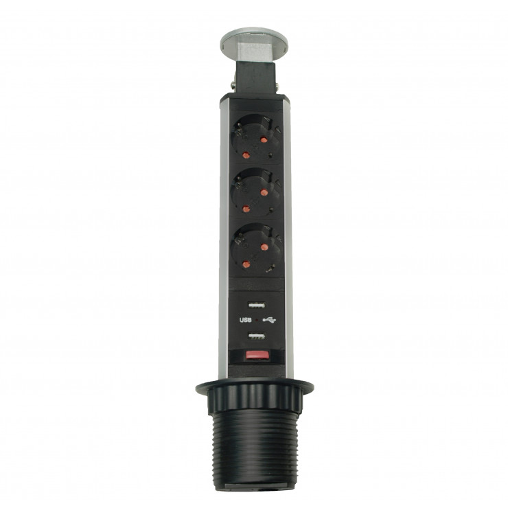 Блок розеток выдвижной вертикальный серебристый POP UP Compact, 3 розетки EURO, 250В, макс.3.5кВт, 2USB макс.2,1A
