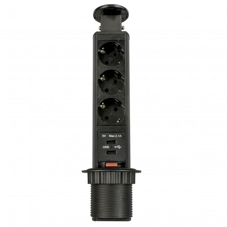 Блок розеток выдвижной вертикальный чёрный POP UP Compact, 3 розетки EURO, 250В, макс.3.5кВт, 2USB макс.2,1A
