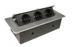 Блок розеток выдвижной горизонтальный  серебристый POP UP, 3 розетки EURO, 250В / 2,7кВт