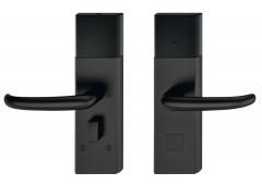 Комплект терминала Hafele Dialock DT700, нержавеющая сталь, черная, матовая,нажимная дверная ручка J-образной формы .