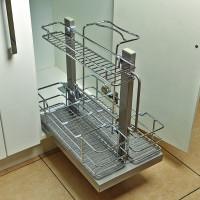 Бутылочница для моющих средств, Hafele Elegance, 400 мм, монтаж к нижней панели, 3 яруса, съемные корзины, металлический пруток, направляющие в комплекте