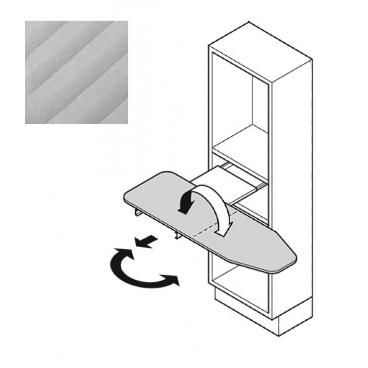 Гладильная доска выдвижная, поворотная Hafele Ironfix, серые полоски